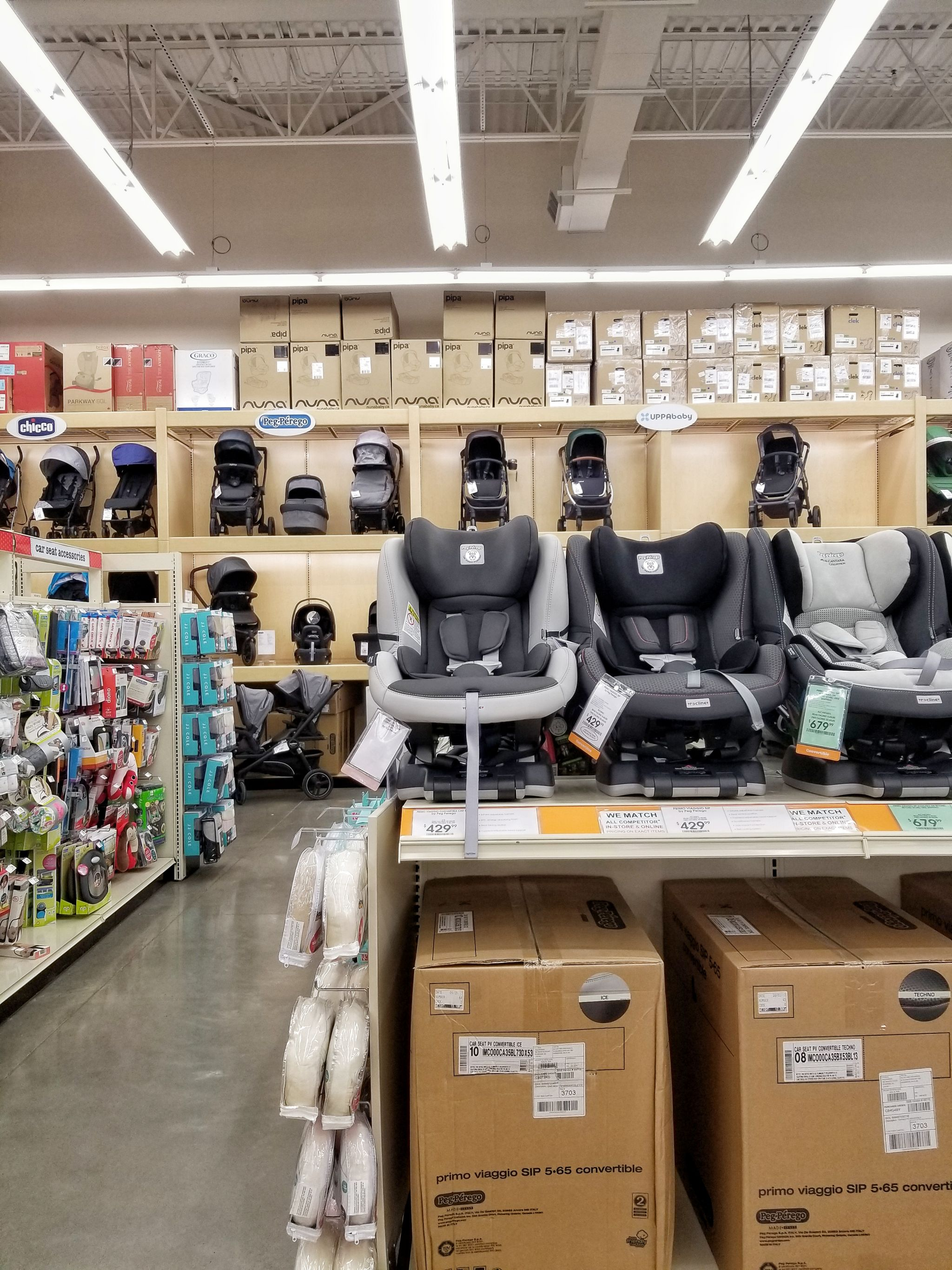 A collection of child car seats at the buybuy BABY store