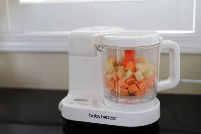 DIY baby food using sweet potato and pear using the Baby Brezza food marker streaming option