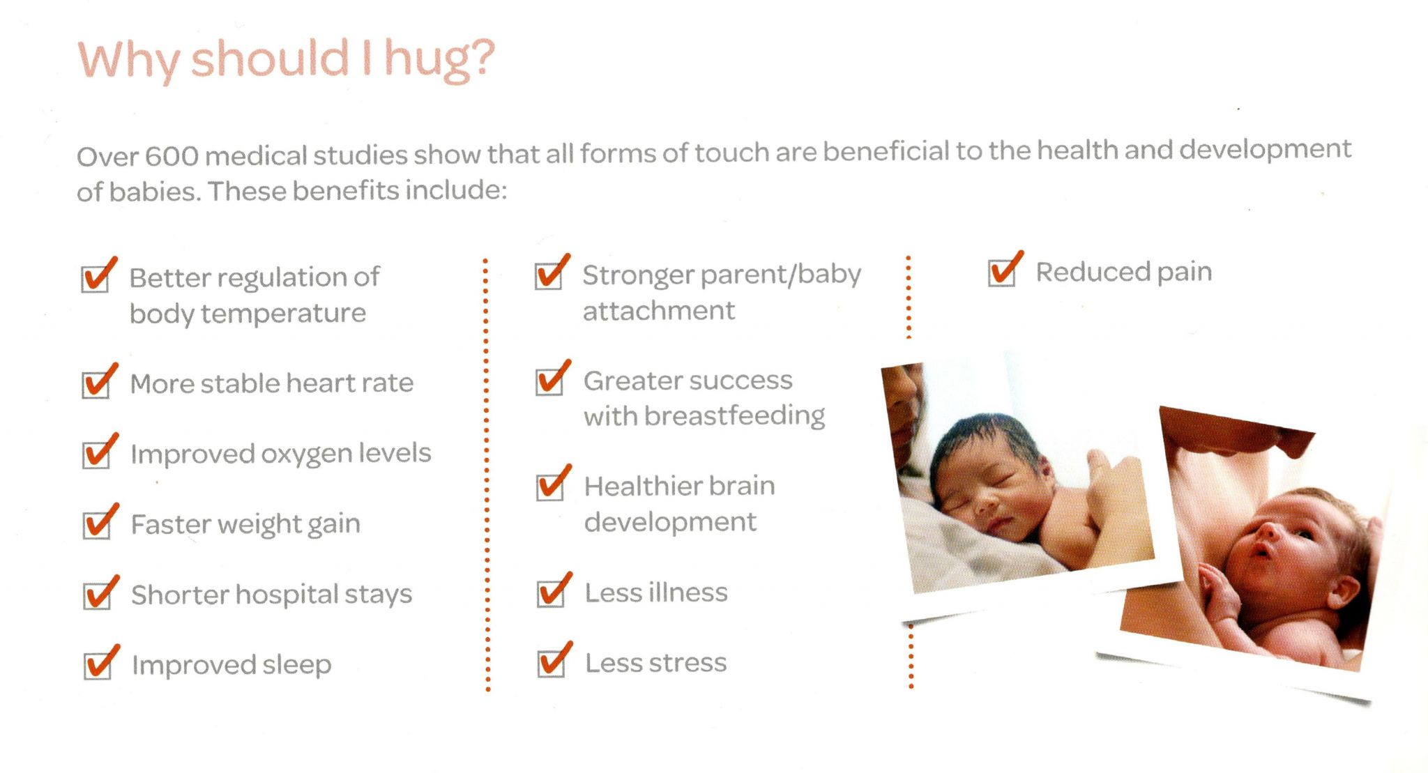 Photo of the benefits of skin-to-skin contact found in  hug plan.