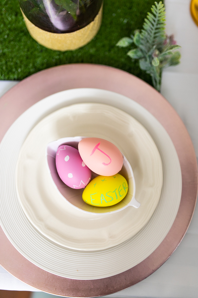 Chalkboard Easter Eggs in pink, yellow, and purple