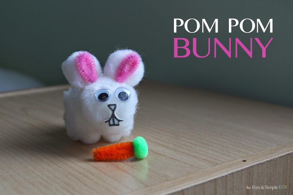 Bunny Easter kids craft using  white pom poms
