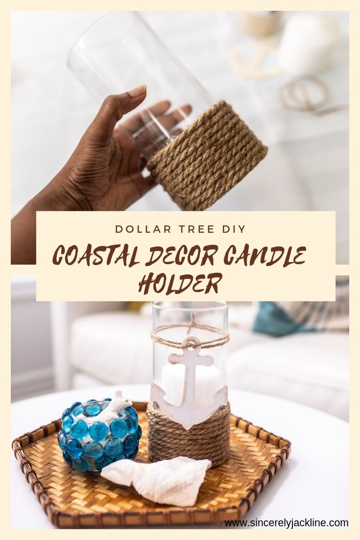 Easy DIY Coastal Decor candle holder and Shell