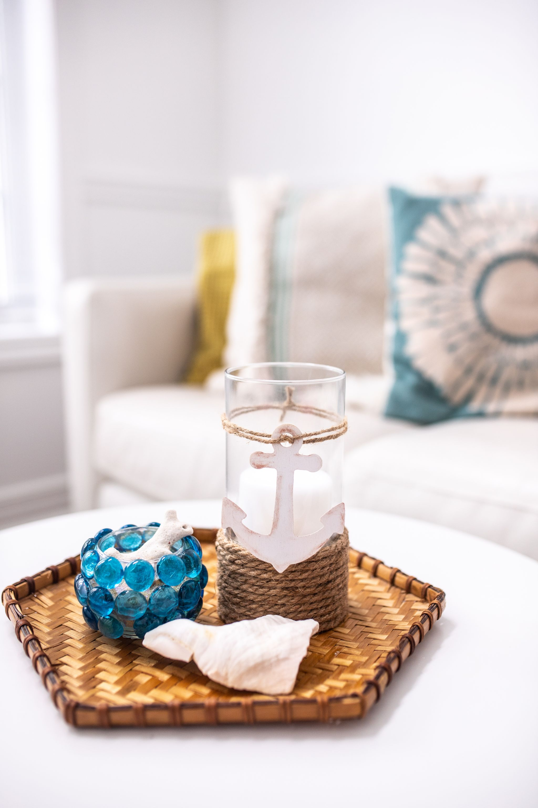 DIY Coastal Decor Candle Holder with shell