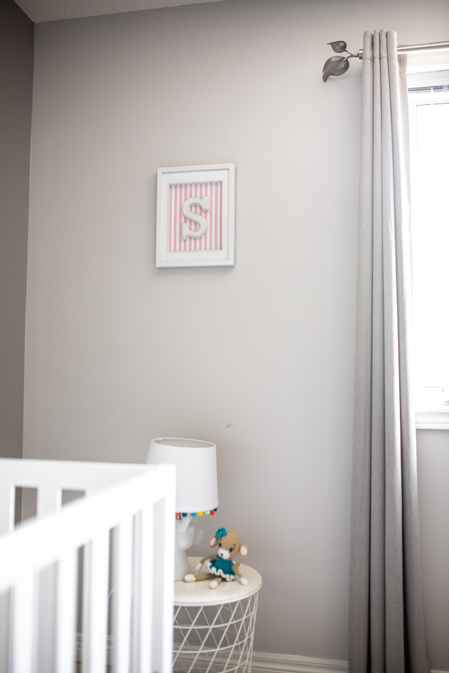 Nursery DIY Letter Wall Decor in a grey an pink child's room