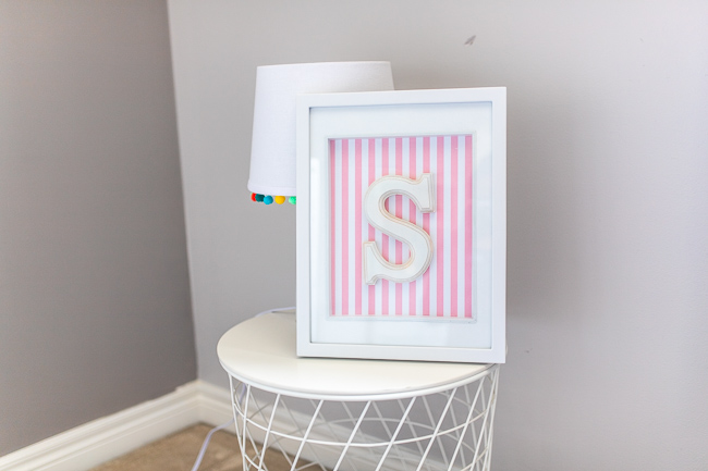 Nursery DIY Letter Wall Decor in a grey child's room