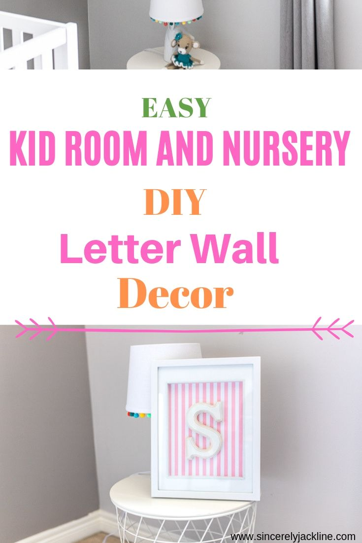 Nursery DIY Letter Wall Decor in a grey and pink child's room