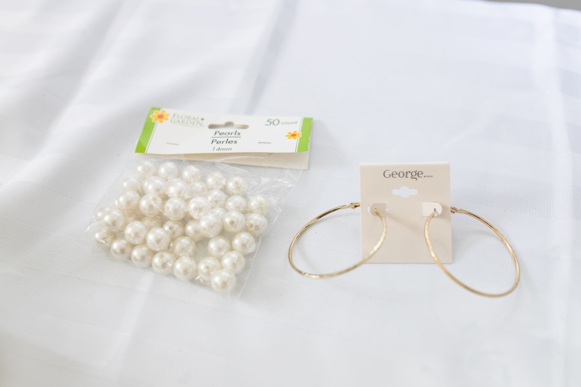 pearl beads and gold hoop earrings